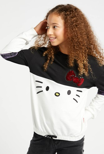 Hello Kitty Print Sweat Top with Sequin Detail and Long Sleeves