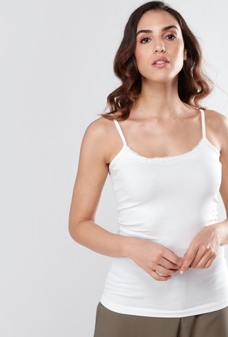 Scoop Neck Camisole with Spaghetti Straps and Lace Detail