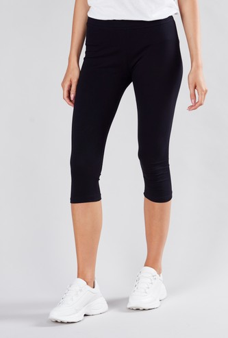 Solid Anti-Pilling 3/4 Leggings with Elasticised Waistband