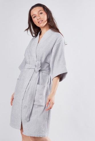 Textured Bathrobe with Patch Pockets
