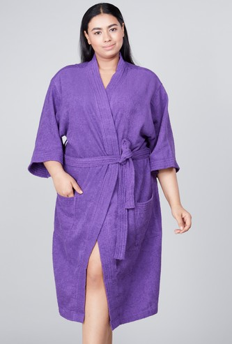 Textured Bath Robe with Pocket Detail and Tie Ups
