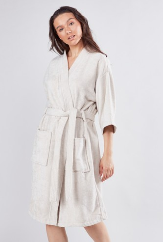 Textured Bathrobe with Long Sleeves and Tie Ups - Extra Large