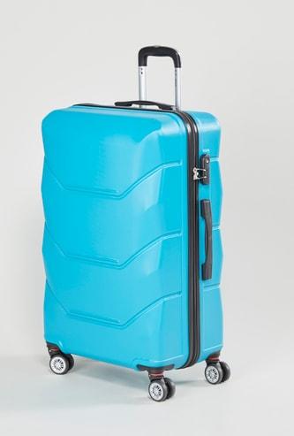 شنطة سفر صلبة بارزة الملمس بمقبض قابل للسحب - 47x30x69 سم