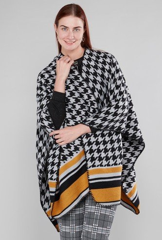 Houndstooth Printed Shrug with Contrast Stripes