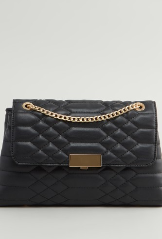 Textured Handbag with Flap and Metallic Chain
