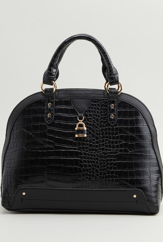 Textured Tote Bag with Detachable Strap and Zip Closure