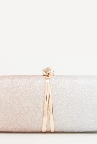 Glitter Detail Clutch Purse with Metallic Knob Closure