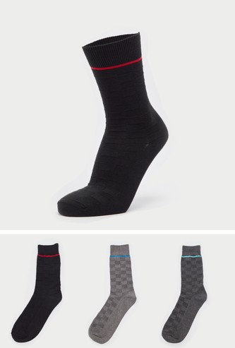 Set of 3 - Textured Calf Length Socks