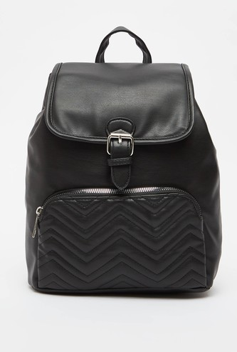 Textured Backpack with Adjustable Straps and Drawstring Closure