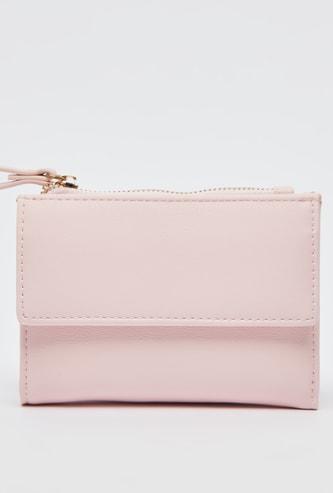 Solid Bi-Fold Wallet with Flap Pocket