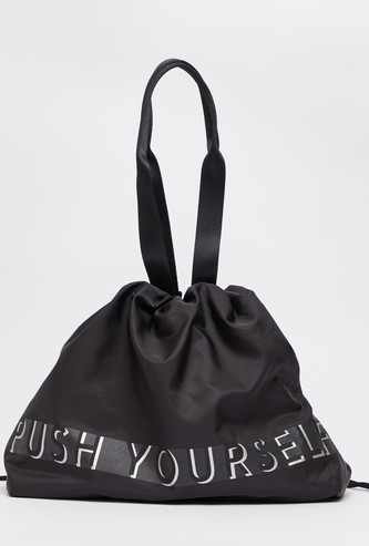 Text Print Gym Bag with Drawstring Closure