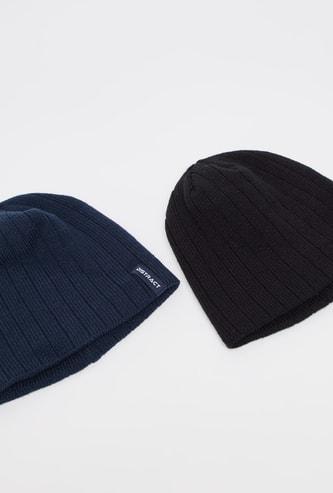 Set of 2 - Textured Beanie Cap