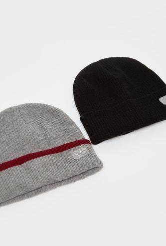 قبعة بيني مزينة - طقم من قطعتين