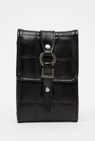 Quilted Wallet with Belt Accent and Sling Strap