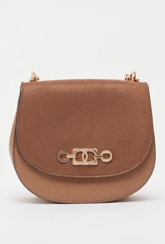 Textured Crossbody Bag with Metallic Chain Strap