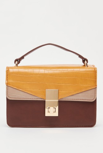 Colourblocked Satchel Bag with Metallic Chain Strap