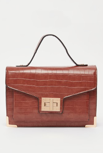 Textured Satchel Bag with Top Handle and Strap