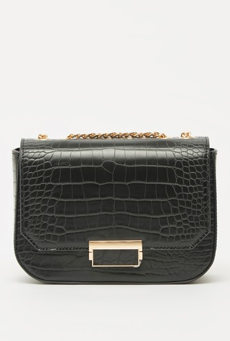 Textured Satchel Bag with Shoulder Chain and Zip Closure