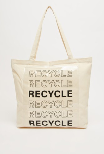 Text Print Tote Bag with Twin Handle