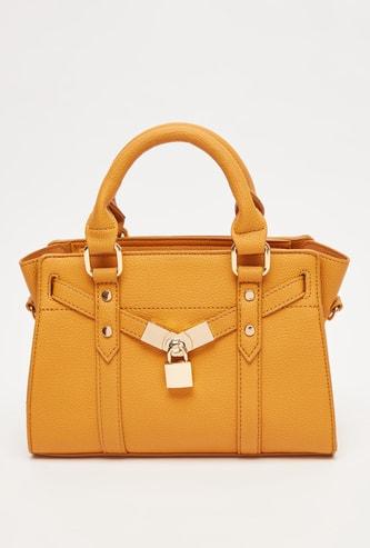 Textured Handbag with Twin Handle and Zip Closure