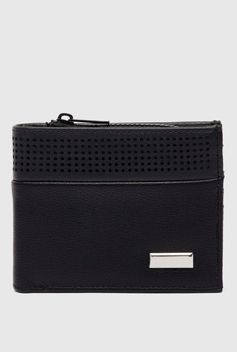 Solid Bi-Fold Wallet with Perforation Detail and Zip Closure
