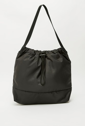 Solid Shoulder Bag with Toggle Closure