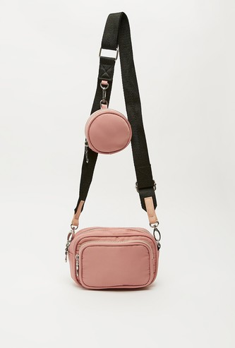 Solid Crossbody Bag with Detachable Coin Pouch