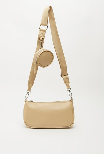 Solid Crossbody Bag with Detachable Strap and Pouch