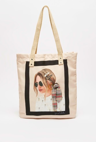 Graphic Print Tote Bag with Twin Handle and Bow Detail