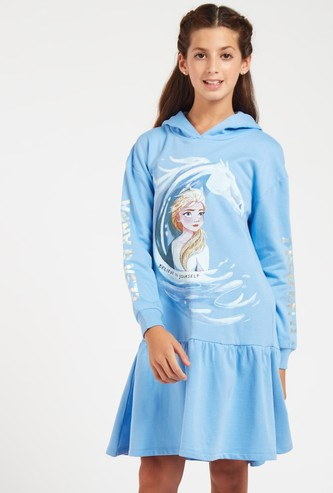 Frozen 2 Print Knee Length Sweat Dress with Hood and Long Sleeves