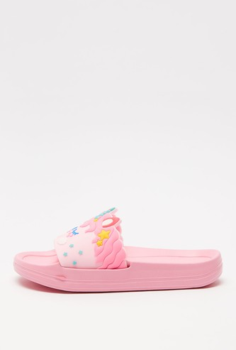 Unicorn Textured Open-Toe Sliders