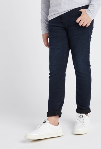 Solid Jeans with Pockets and Belt Loops