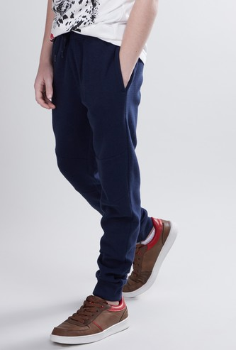Full Length Textured Jog Pants with Pocket Detail