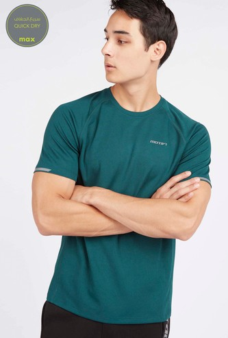Textured T-shirt with Raglan Sleeves and Crew Neck
