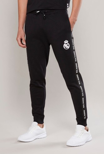 Full Length Printed Jog Pants with Tape Detail and Drawstring