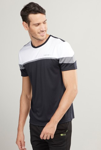Colourblock Round Neck T-shirt with Short Sleeves