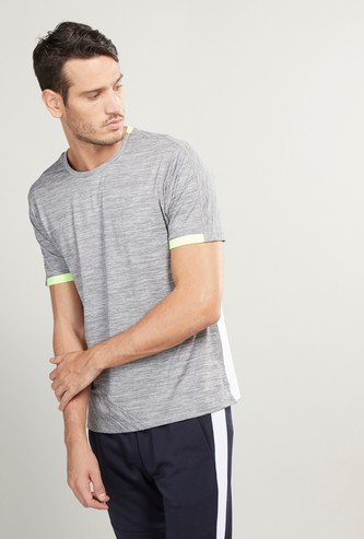 Tape Detail Round Neck T-shirt with Short Sleeves