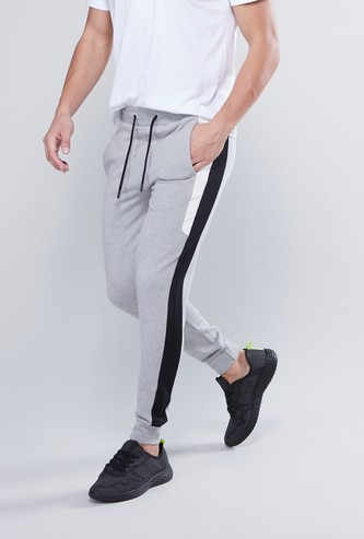 Plain Jog Pants with Elasticised Waistband and Pockets
