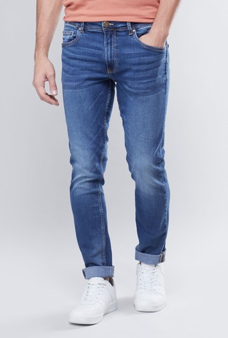 Slim Fit Mid-Rise Fashion Washed Jeans with 5-Pockets