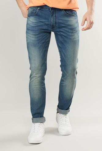Skinny Fit Acid Washed Jeans with Pockets and Button Closure