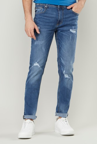 Skinny Fit Full Length Distressed Jeans with Pocket Detail