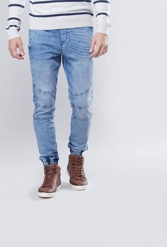 Slim Fit Textured Mid Waist Jog Pants with Elasticised Waistband