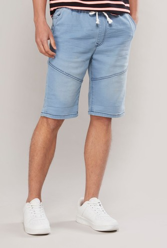 Slim Fit Panelled Denim Knee Length Shorts with Drawstring Waist