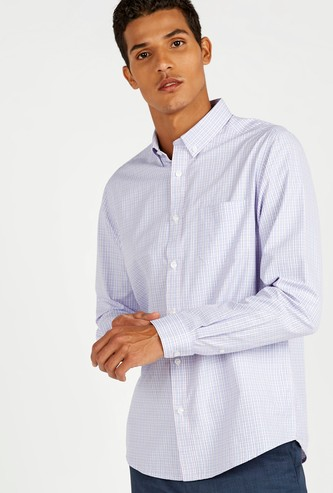 Chequered Shirt with Long Sleeves and Patch Pocket