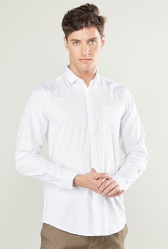 Plain Shirt with Pocket Detail and Long Sleeves