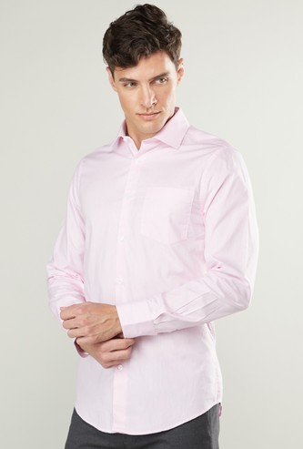 Slim Fit Shirt with Long Sleeves and Pocket Detail