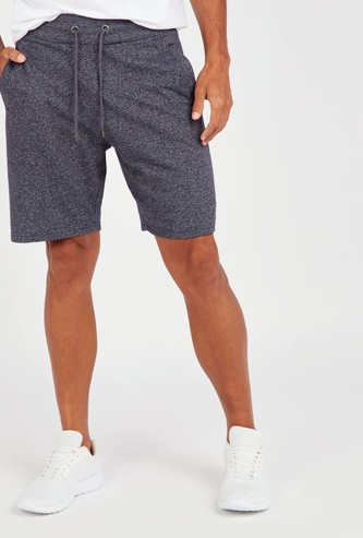 Textured Shorts with Pockets and Drawstring Closure