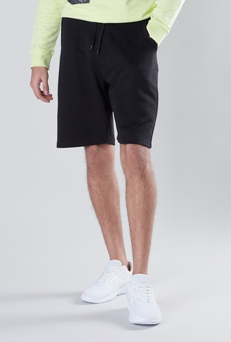Solid Mid-Rise Shorts with Drawstring Waistband