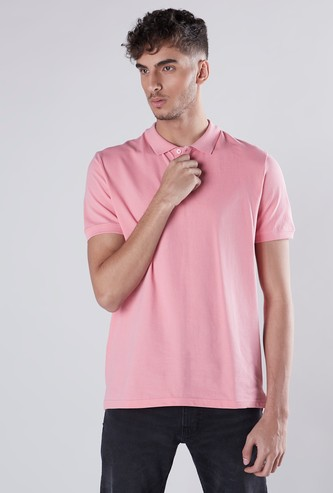 Plain Polo Neck T-shirt with Short Sleeves