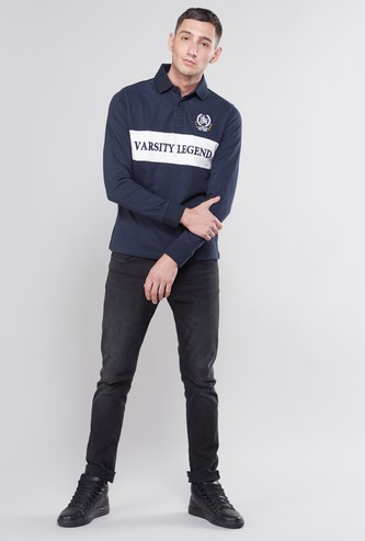 Textured T-shirt with Polo Neck and Long Sleeves